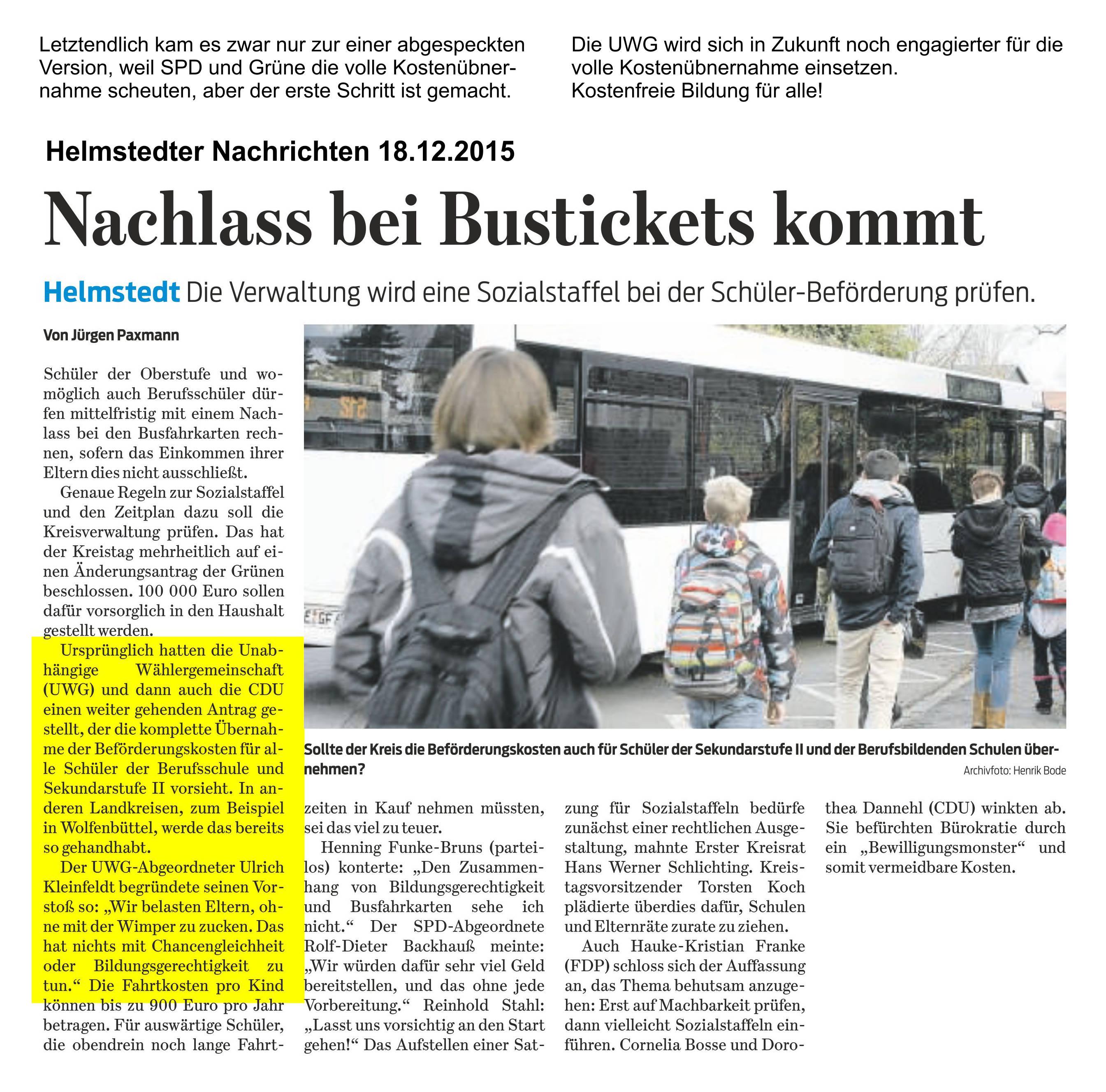Pressebericht zum Thema Schüler-Beförderung