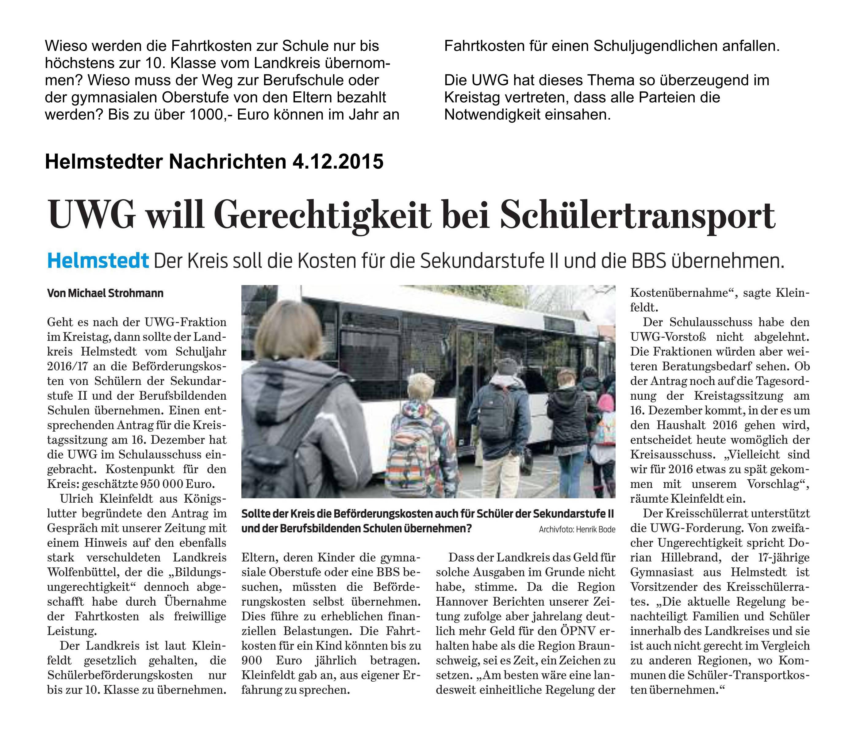 Pressebericht zum Thema Schülertransport